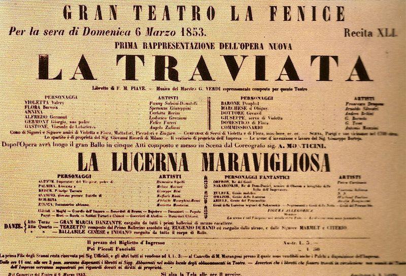 Afiche del estreno de la ópera La Traviata de Verdi (6 de marzo de 1853)